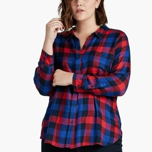 Lucky Brand 1X Navy Blue Red Bungalow Plaid Top
